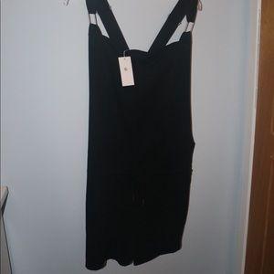 Belinda Black XL Overalls/Romper with Pocket